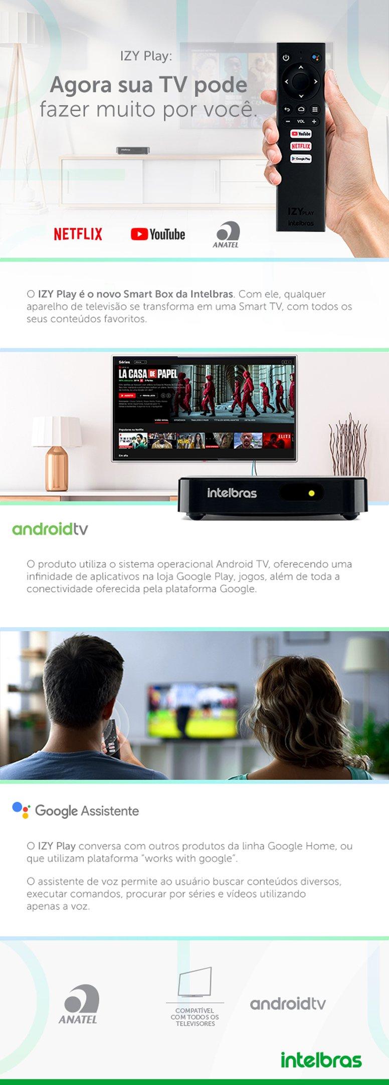 Conteúdo informativo Smart Box Android TV IZY Play